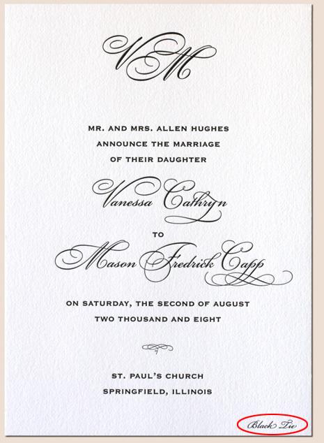 Put dress code wedding invitation